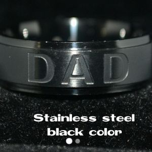 Black Color  Deep Cut Stainless Steel Dad Ring